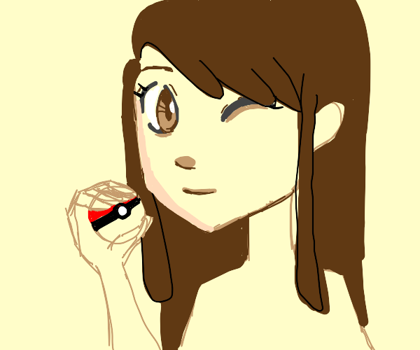 a pokemon trainer with long hair
