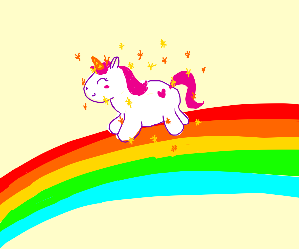 Excited Sparkly Unicorn on a Rainbow