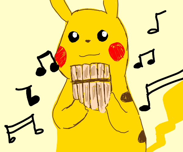 pikachu playing the flute