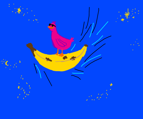 Pink duck on a flying banana