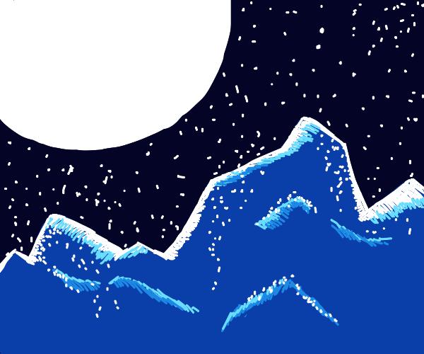 Beautiful moon winter wonderland