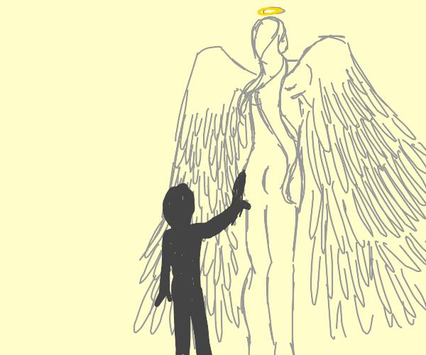 Touching an angel's butt