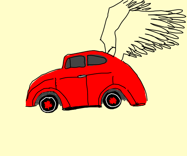 red car with wings