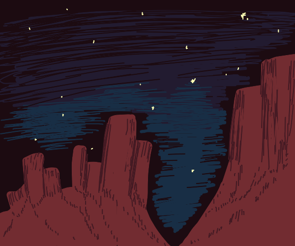 Minimalist Night Sky peeks through Canyon