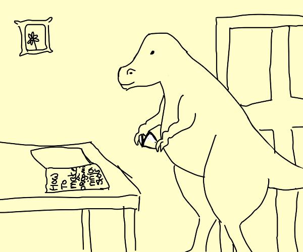 Dinosaur makes origami ninja star