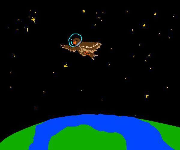 Creepy bird astronaut floating above earth