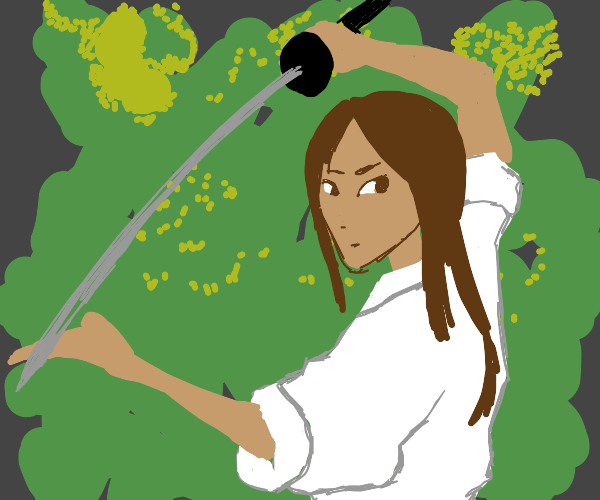 Girl in Front of a Bush with a Katana