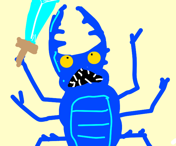 A blue stag beetle with a sword