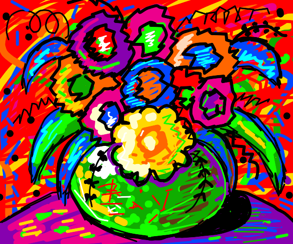 A colorful vase of flowers