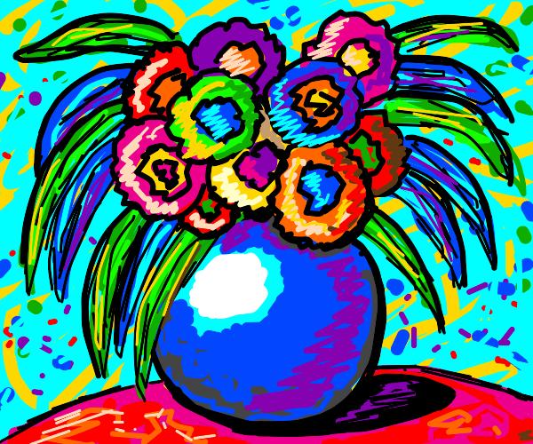 beautiful flowers in a blue vase