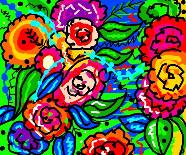 lots of flowers on a beautiful blue backgroun