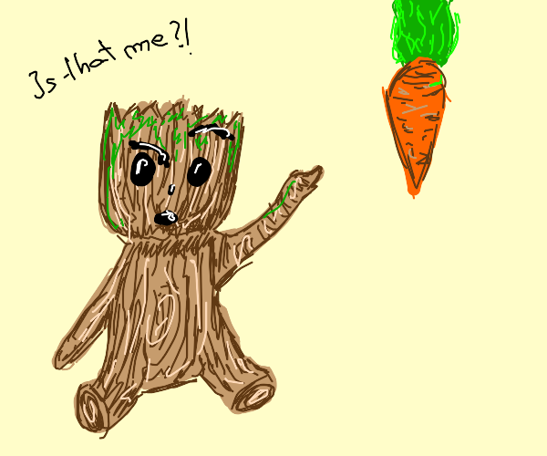confused groot thinks he is a carrot
