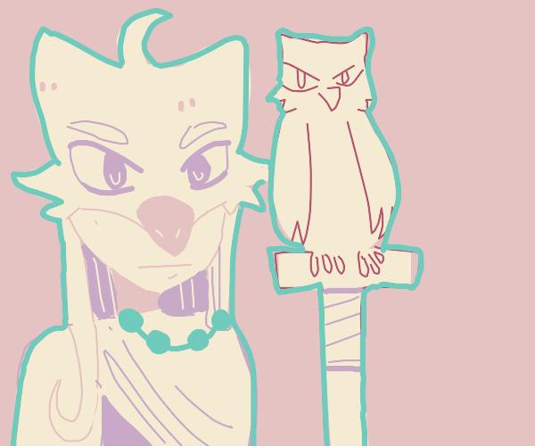 owl girl with a pet owl