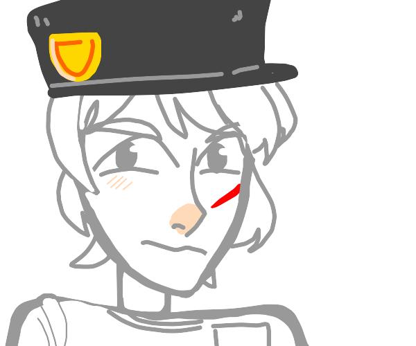 anime cop with red birthmark on cheek