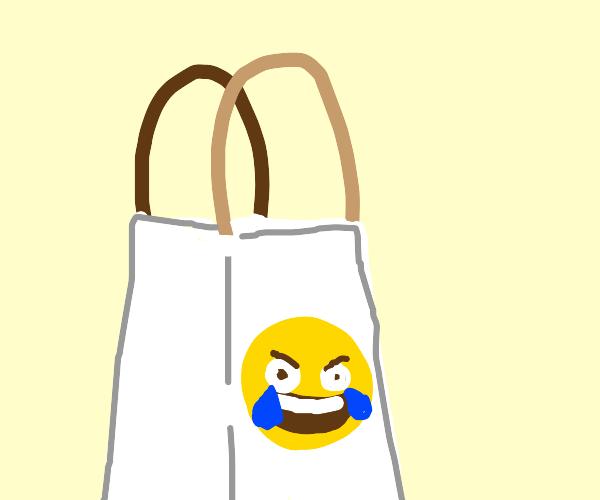 Laughing crying emoji designer bag
