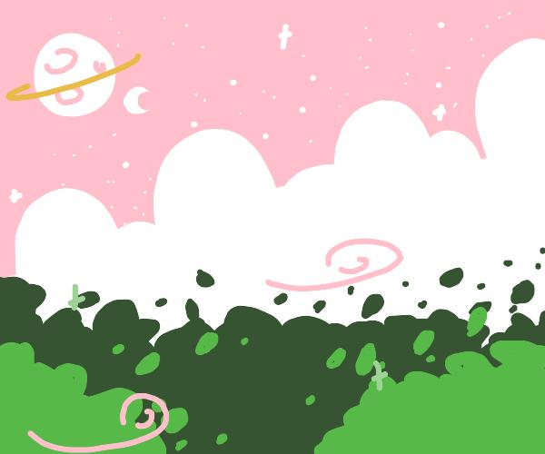 tree in a windy meadow
