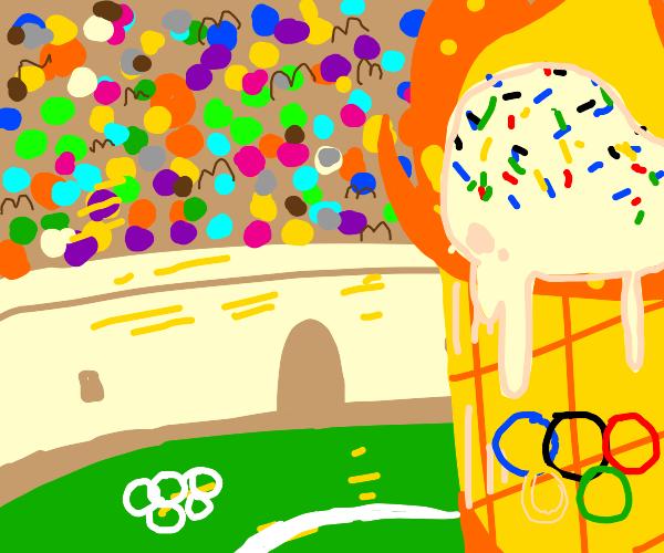 olympic burning ice cream cone
