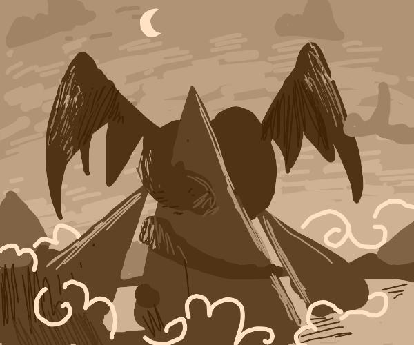 a dragon protecting his mountain