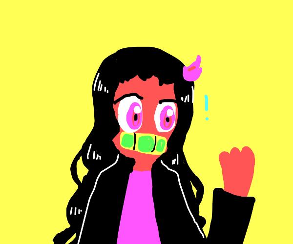 Nezuko but with pink skin