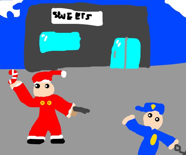 Santa steals a candy cane