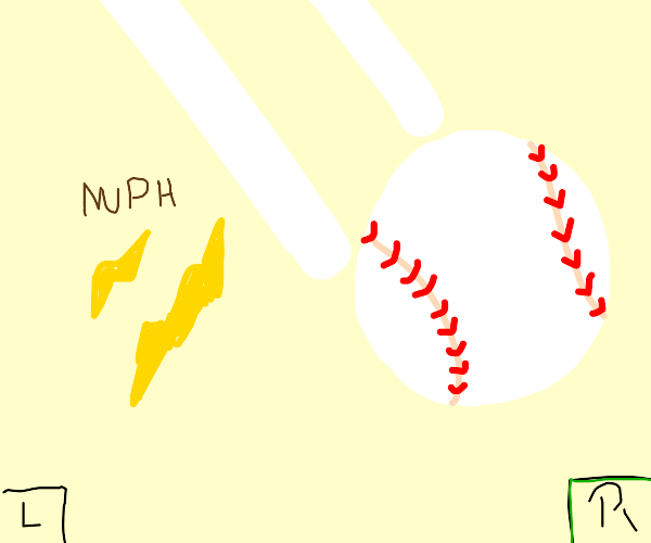 baseball zooming towards the right side