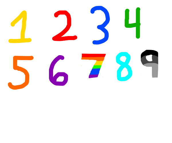 Numbers 1-9, 7 is a rainbow, 9 is grayscale