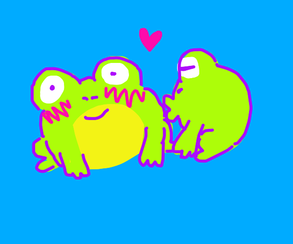 two frogs kissing