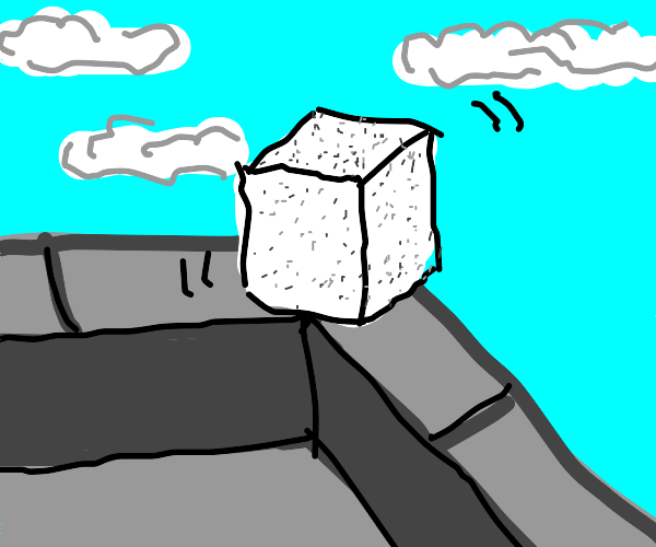 a piece of sugar about to jump of a building