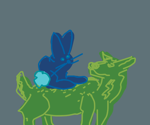 Blue thumper sits on green Bambi