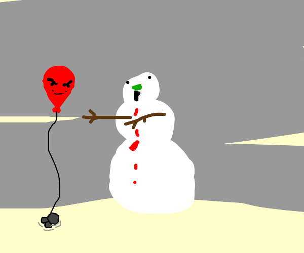 Snowman Zombie with Sentient Red Balloon