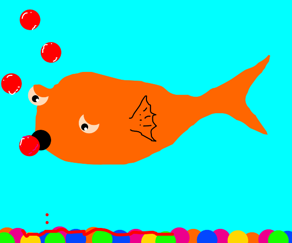 a goldfish coughing blood