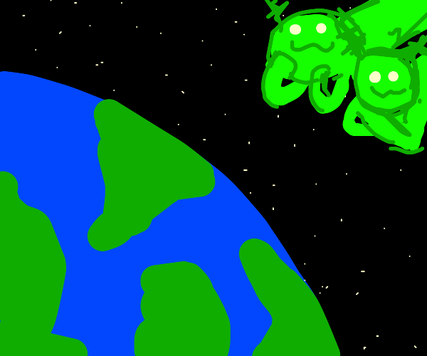 Two green owo aliens observe Earth from afar