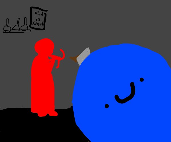 red scientist shoots blue guy with crossbow
