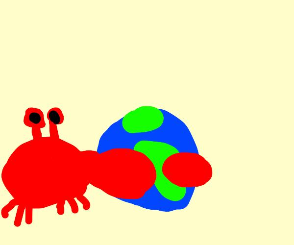 evil giant crab hugging the world