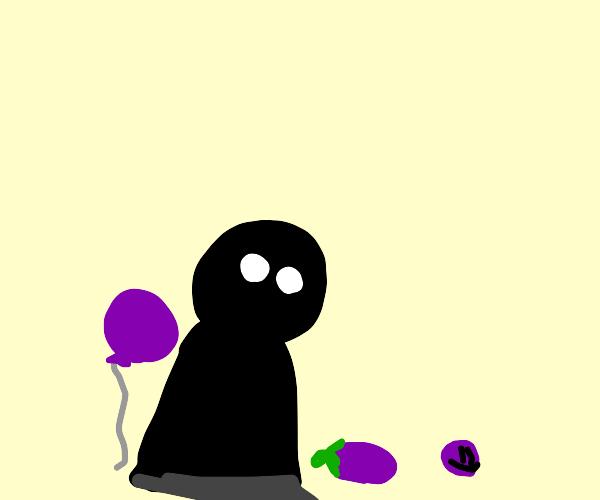 Shadow and three purple things.