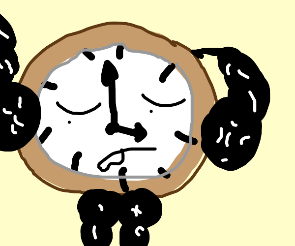 Clock with eyes, arms, and legs
