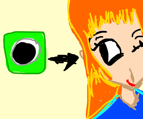 one eyed green cube becomes an anime girl
