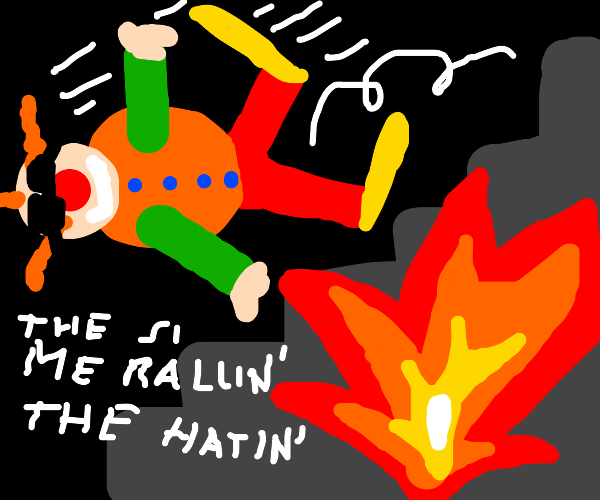 clown falling down the stairs epicly