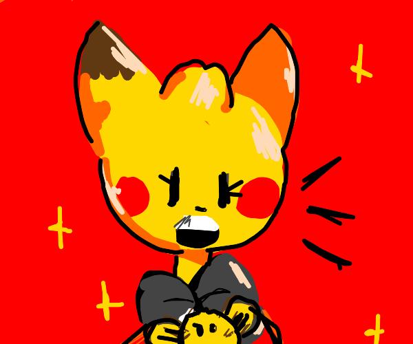 Hazbin character holding fluffy creature