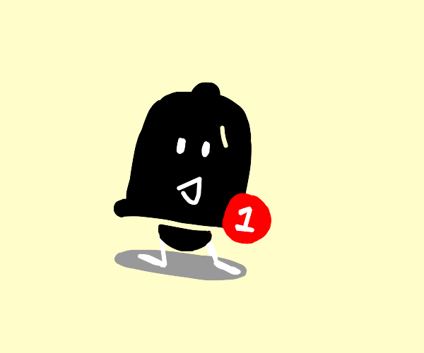 a notifications bell icon with little feet