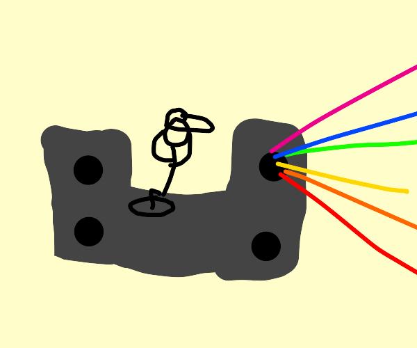 the DJ's speakers are bursting with rainbows