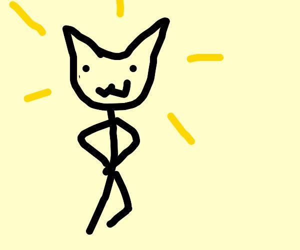 happy stick cat man