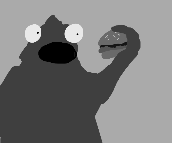 Cookie Monster eating a Hamburger