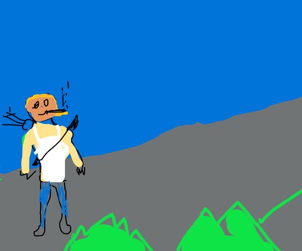 Blond Lara Croft adventuring and smoking