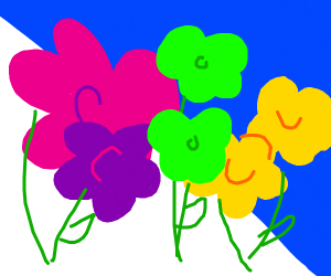 Pink, yellow, and green flowers