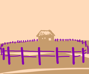 little house with purple fence