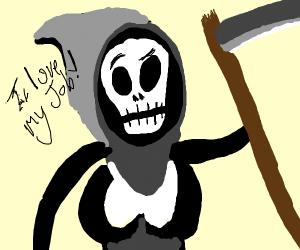 Cute Grim Reaper loves her job