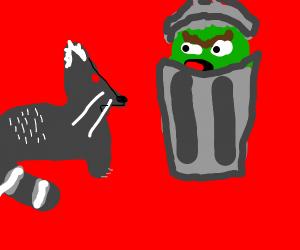 Raccoon Boxing Trash