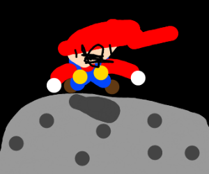 mario on moon with holes