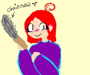 Smirking redhead in purple dress has chainsaw
